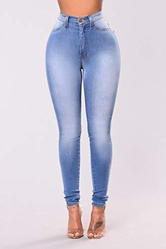 Elastico Alta Cayuan Leggings Jeans Casuale Matita Vita Stretto Pantaloni A Denim Azzurro Pantalone Donna AXggrq6nwY