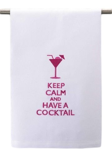 Bar Dish or Hand Guest Towel Pink /& White Peking Handicraft 5841229 Keep Calm and Have a Cocktail Martini Drink Glass Kitchen