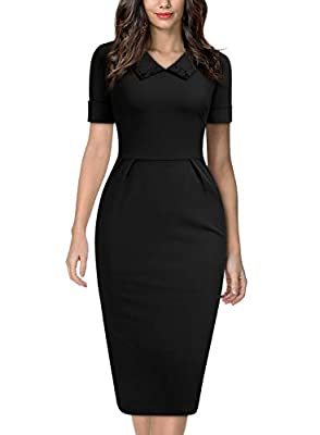 Miusol Women's Vintage Lace Contrast Slim Style Business Pencil Dress