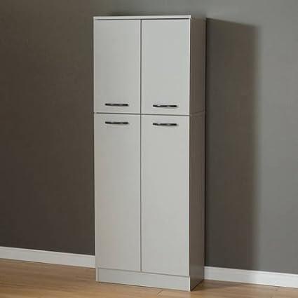 South Shore Smart Basics 4 Door Storage Pantry (Soft Gray)