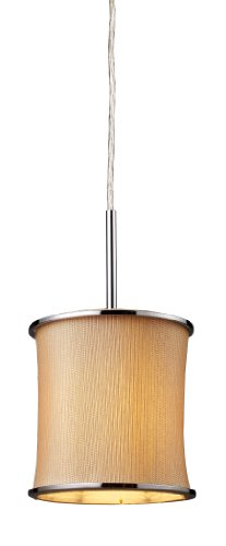 Textured Tan Shade (Elk 20018/1 Fabrique 1-Light Drum Pendant In Polished Chrome and Textured Tan Shade)