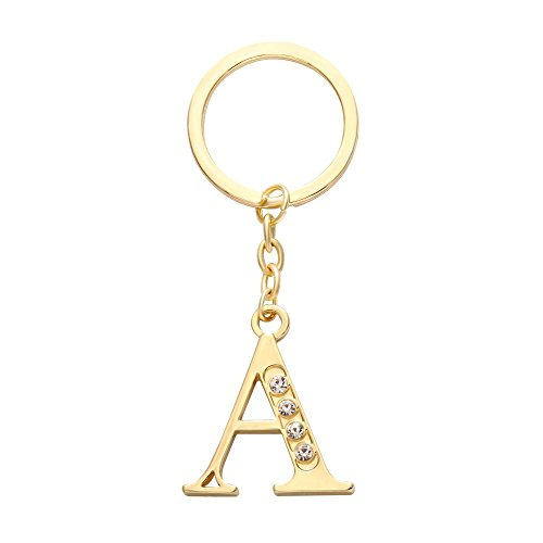NOUMANDA Alloy 26 Alphabet English Letters Crystal Initial Charms Real Gold Plating Key Chain Ring (Letter A)