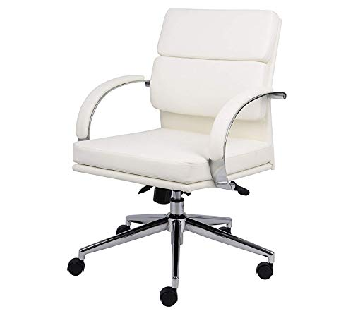(Wood & Style Office Home Furniture Premium Office Products Caressoftplus Executive Series Chair, 250 lb, White/Chrome)