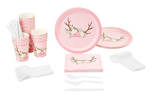 Disposable Dinnerware Set - Serves 24 - Floral Rustic Party Supplies for Kids Birthdays, Baby Showers - Includes Plastic Knives, Spoons, Forks, Paper Plates, Napkins, Cups]()