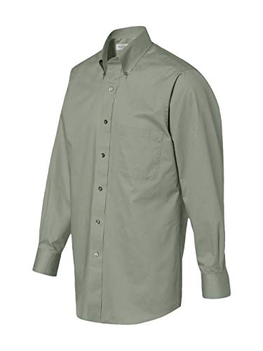 Van Heusen Mens Long Sleeve Button Down Baby Twill Dress Shirt - Colors (L, Sage)