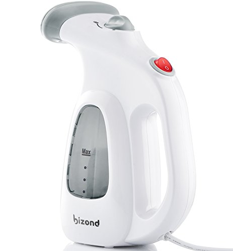 BIZOND Steamer for Clothes Travel and Home - Portable, Handheld Steamer for Garment and Fabric - Safe and Little Handy - Anti-Spill Compact Mini Steamer for Shirt, Curtain with Accessories (Silver) ()