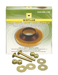 "Whitlam Wax Bowl Ring with Flange and Bolt Kit. Commercial Grade.Solid brass bolts and washers. Fits 3"" and 4"" lines"