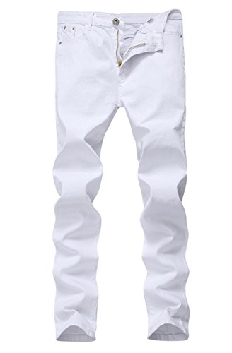 Men's White Skinny Slim Fit Stretch Straight Leg Fashion Jeans -