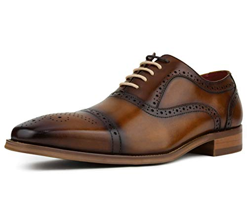 Asher Green Men's Genuine Leather Cap Toe Oxford with Decorative Broguing Lace Up Dress Shoe, Style AG114 Tan