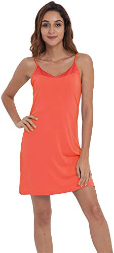 - NEIWAI Womens Basic Spaghetti Strap Cami Slip Camisole Sleep Dress Peach Pink L