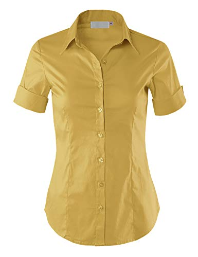 (MAYSIX APPAREL Plus Size Womens Short Sleeve Stretchy Button Down Collar Office Formal Shirt Blouse Mustard 2XL)