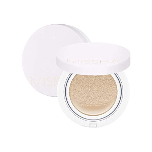 [Missha] M Magic Cushion Cover Lasting No.21 - Wrinkle Care+Brightening+UV Blocking SPF50- Cover Lasting Magic Cushion for Fuzzy & Semi-Matte Skin Finish- 15g - Amazon Code verified for Authenticity