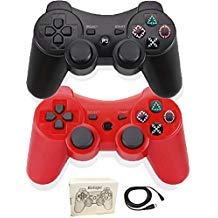 Kolopc Wireless Bluetooth Controller For PS3 Double Shock - Bundled with USB charge cord ... (Red and Black)