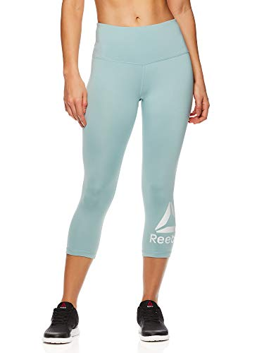 Reebok Women's High Waisted Capri Workout Leggings - Cropped Performance Compression Gym Tights - Grey Mist, Small