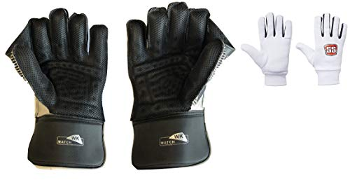 SS Match Cricket Wicket Keeping Gloves ' Mens Size, Cotton Inner Gloves Included (Black Color)
