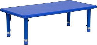 24''W x 48''L Height Adjustable Rectangular Blue Kid's Plastic Activity Table