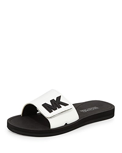 Michael Kors Michael MK Sport Slide Sandal, Optic White (10) (Michael Kors White Sandals)