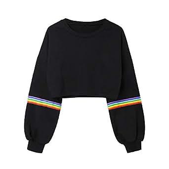 VJGOAL Moda Casual para Mujer Manga Larga del Arco Iris de impresión a Rayas Crop Short Sweatshirt Jumper Negro de Color sólido Pullover Top