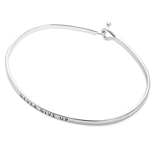 SpinningDaisy Personal Mantra Message Cuff Hook Bracelet (Never GIVE UP-Silver)]()
