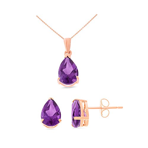 - 14K Rose Gold 6 x 8 mm. Pear Genuine Natural Amethyst Earrings + Pendant Set With Square Rolo Chain