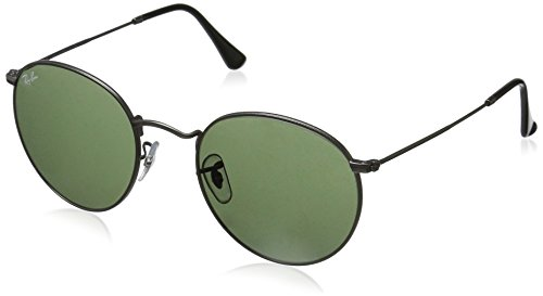 Ray-Ban RB3447 Round Metal Sunglasses, Matte Gunmetal/Green, 53 mm ()