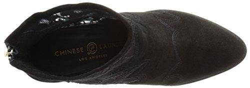 Lavanda China Para Mujer Sharp Bota Lace-gamuza Negra