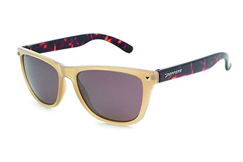 (Pepper's Spitfire Polarized Oval Sunglasses, Milky Caramel w. Tortoise Temples, 50 mm)