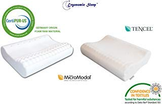 Visco-Foam Contour Pillow - Cool Tencel Fabric - Medium Firm and Comfortable Support, Ideal Designed to Relief Neck Pain, Massage Pillow-Model