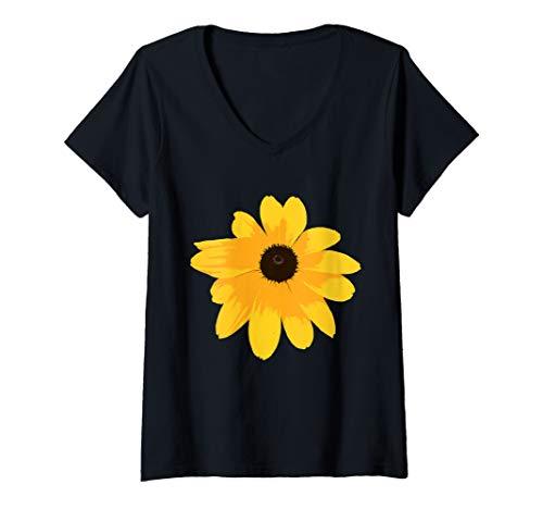 Womens Black Eyed Susan - Large Yellow Daisy Flower Print T-Shirt   V-Neck - T-shirt V-neck Womens Daisy