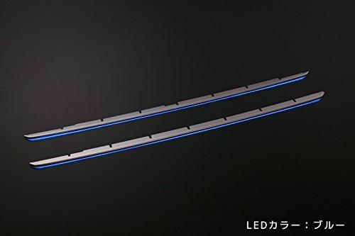 [LEDブルー]200系ハイエースレジアスエース 4型 ナローボディ(標準ボディ) LEDイルミ付きフロントバンパーグリルフィン B07BNPTWK9
