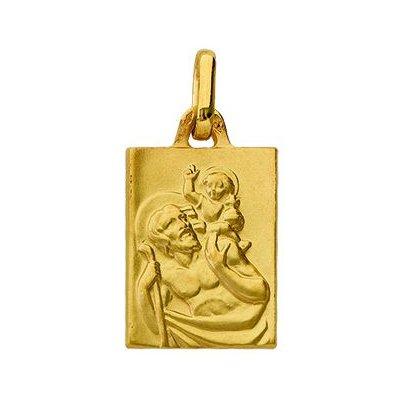So Chic Bijoux © Pendentif Mixte - Or Jaune 375/000 (9 carats) - Médaille Rectangle St Christophe Patron des Voyageurs - Personnalisable: Gravure offerte