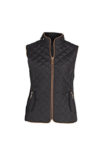 Lee Hanton Women's Plus Size Slim Fit Quilted Zip Up Fur Padded Jacket Vests