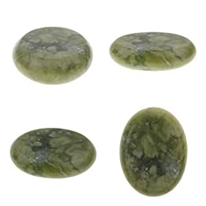 Lovoski 4 Pieces Hot Jade Stones Set - Smooth Massage Stones, Body Heating Warmer Stones - Aromatherapy Relaxation Supplies - 6x8cm