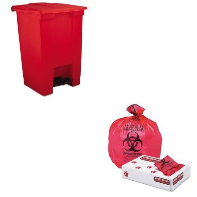 KITJAGIW2432RRCP6144RED - Value Kit - Jaguar Plastics IW2432R Red Healthcare, Infectious Waste and Infectious Can Liners, 33 Gallons (JAGIW2432R) and Rubbermaid-Red Fire Safe Plastic Step On Receptacle 12 Gallon (RCP6144RED)