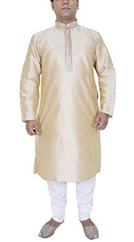 Mens Fashion Dress Pant Shirt Kurta Pajama Set Ethnic Dress Beige Size XL