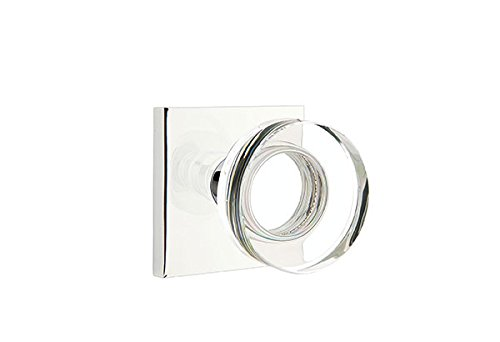 Privacy Set, Modern Square Rosette, Modern Disc Crystal Knob, Polished Chrome