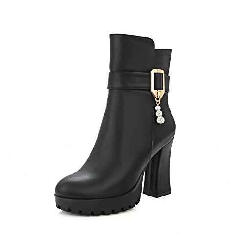 AgooLar Women's Round Closed Toe High Heels Low Top Solid Boots Black