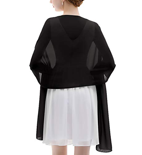Shawls and Wraps Soft Chiffon Scarve Scarf For Evening Party Dresses Wedding Stole(Black)