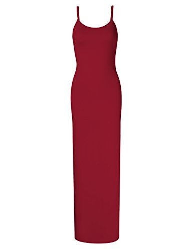 GloryStar Women Sleeveless Spaghetti Strap Cami Maxi Slip Dress Wine Red L