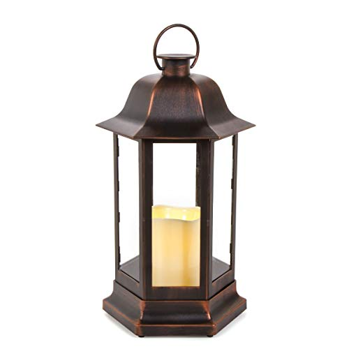 - Darice 30010461 LED Candle Copper Brushed, 8.75 x 14.5 inches Lantern