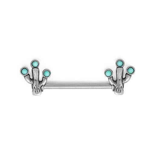 Painful Pleasures 14g 16mm Stainless Steel Externally Threaded Straight Nipple Barbell — Cactus End Charms with Synthetic Turquoise Accents ()