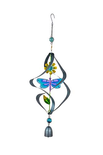 Continental Art Center Inc. CAC3208851C Blue Metal and Glass Spinning Dragonfly Suncatcher Wind Chime, Sun Catcher
