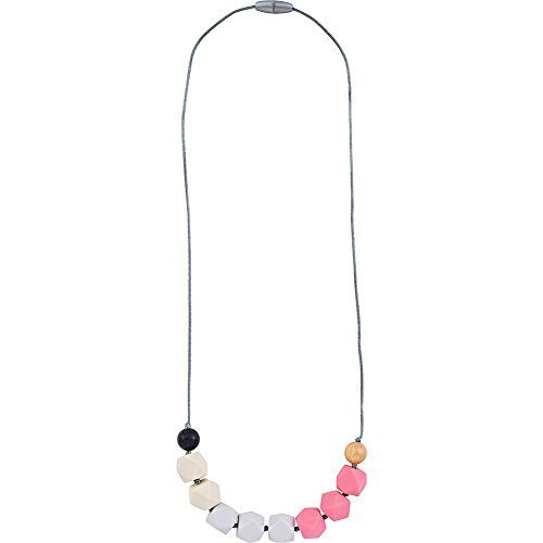 - Itzy Ritzy Teething Happens Cube Bead Necklace (Opal Blush)