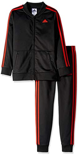 adidas Boys' Little Tricot Jacket and Pant Set, Hombre Ruin Black 7X (Adidas For Jackets Kids)