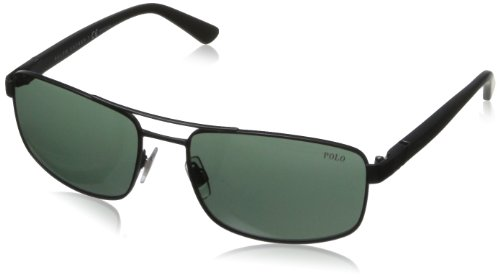 Polo Ralph Lauren Men's Ph3086 Rectangular Sunglasses,Matte Black,58 - Ralph Polo Eyeglasses Lauren Mens