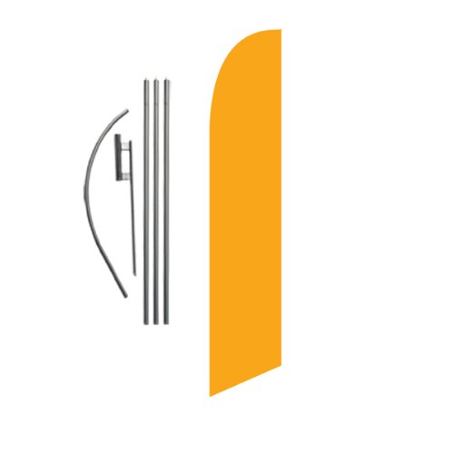 Solid Golden Yellow Advertising Feather Banner Swooper Flag Sign with Flag Pole Kit and Ground Stake