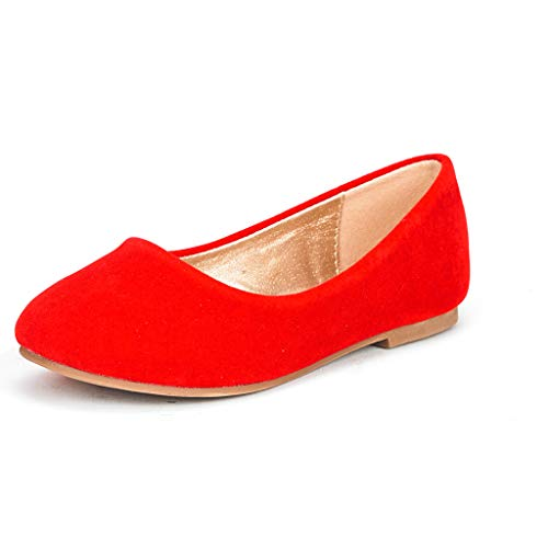 DREAM PAIRS Toddler Muy Red Suede Girl's Mary Jane Ballerina Flat Shoes - 9 M US Toddler ()