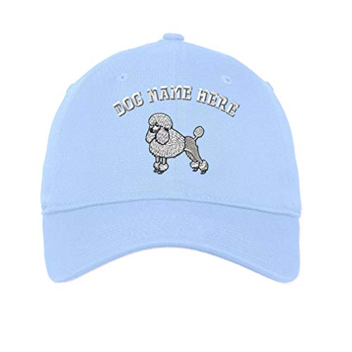 (Custom LowProfileSoft Hat Poodle White Embroidery Dog Name Cotton Dad Hat Flat Solid Buckle - Light Blue, Personalized Text)