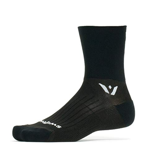 (Swiftwick- Performance Four | Socks for Trail Running and Cycling | Fast Drying, Lightweight Crew Socks | Black, Medium)