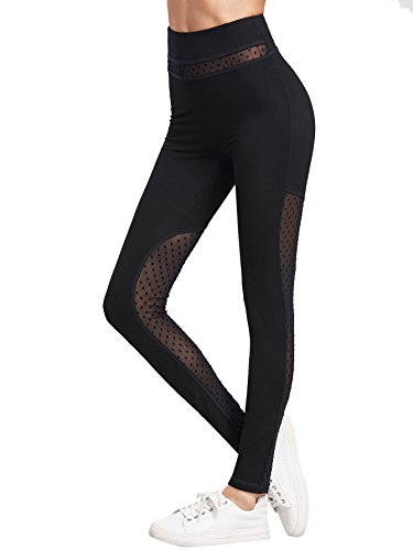 SweatyRocks-Womens-Dotted-High-Waisted-Mesh-Leggings-for-Workout-Fitness